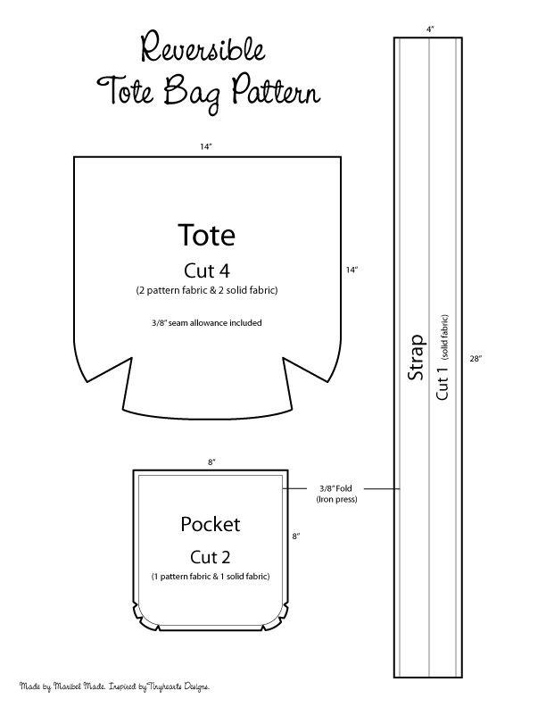 Reversible Tote Bag Pattern | Reversible tote bag, Tote bag and Tote ...