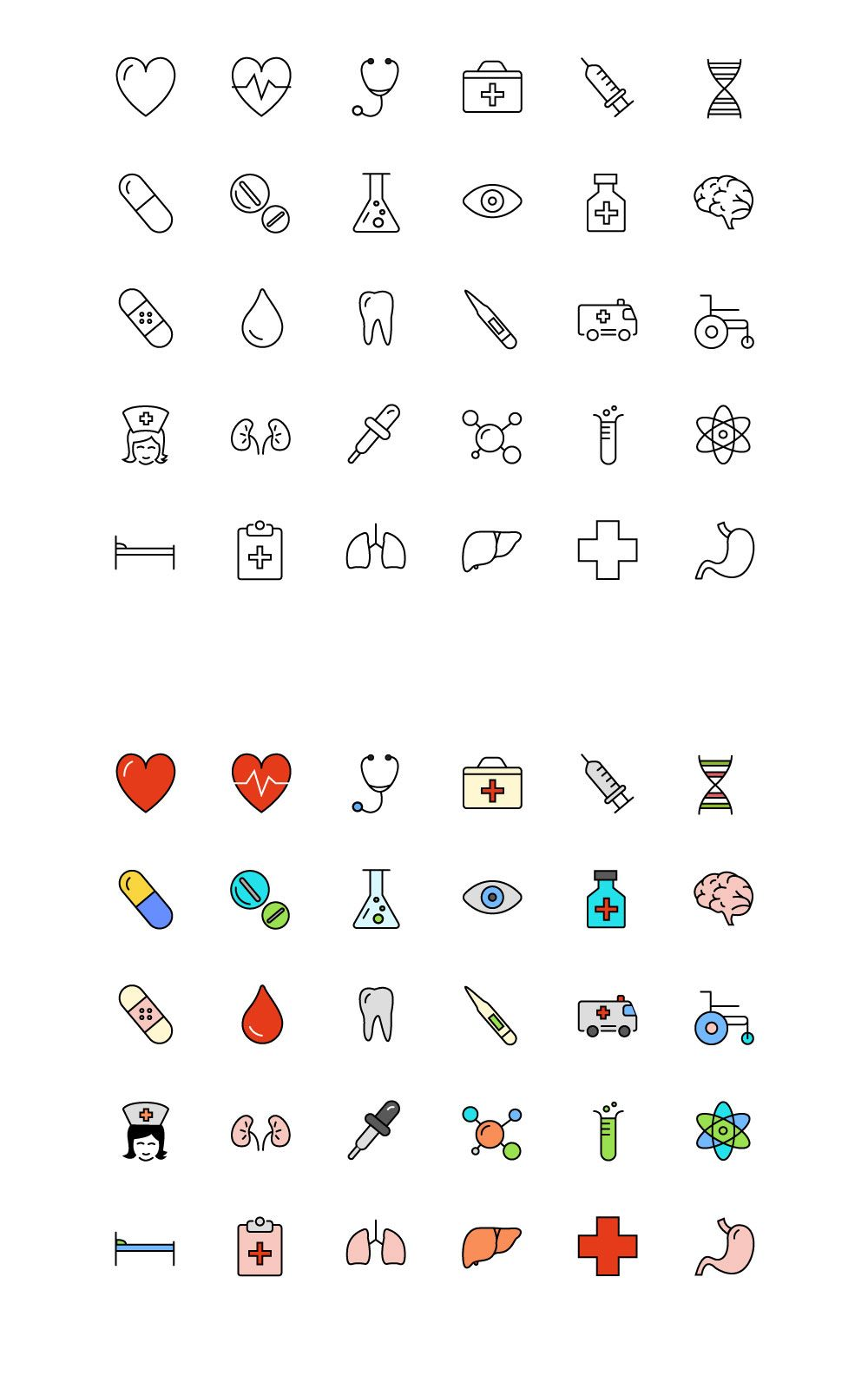 30 medical science line color icons vectors pinterest