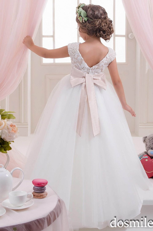 2016 White/Ivory Princess Lace Cap Sleeve Flower Girl