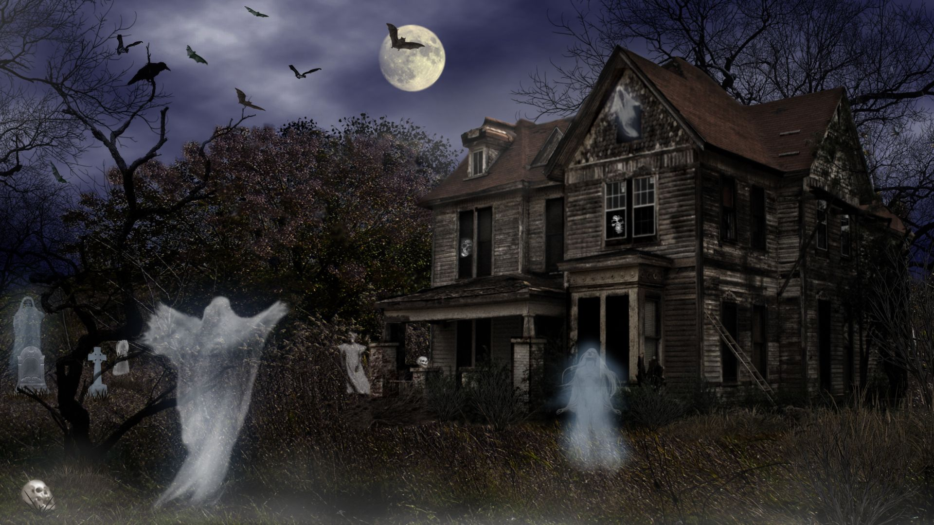 vacances halloween vacances haunted house maison night effrayant fond dcran wallpaper hd pinterest halloween haunted houses and wallpaper - Halloween Haunted Places