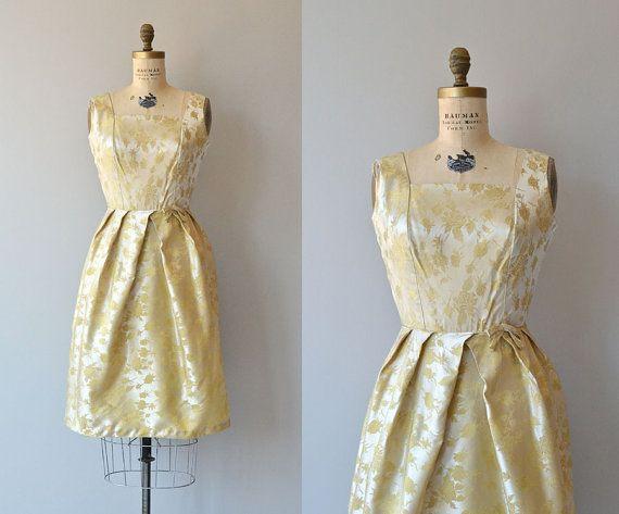 Candle Lit dress • vintage 1950s dress • gold brocade 50s dress on Etsy, $138.00