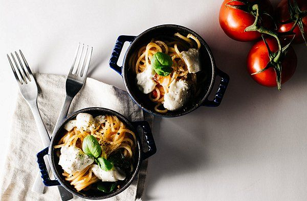 I Am a Food Blog  This weeknight recipe for tomato, basil, and burrata pasta is mouthwatering good. Best of all, it's made in a single pot, so cleanup will be a cinch. Easy to make and tasty? That's a combination we can't resist.