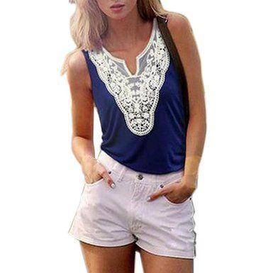 Sannysis(TM) Women Vintage Summer Sleeveless Lace Shirt (M, Blue)