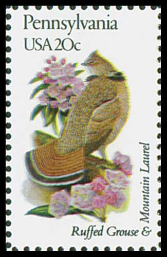 1982 pennsylvania state stamp state bird ruffed grouse state flower mountain laurel