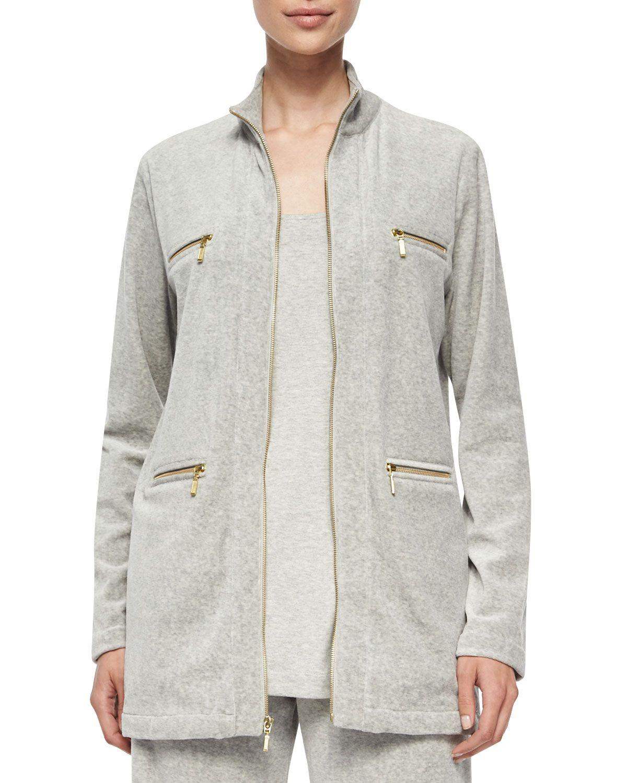 cbccaf4269243 Joan Vass Velour 4-Pocket Long Jacket