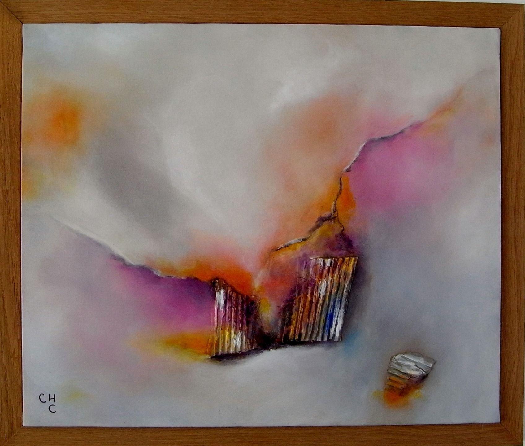 Peinture l 39 huile abstrait et collages sur toile de lin for Peinture lin naturel