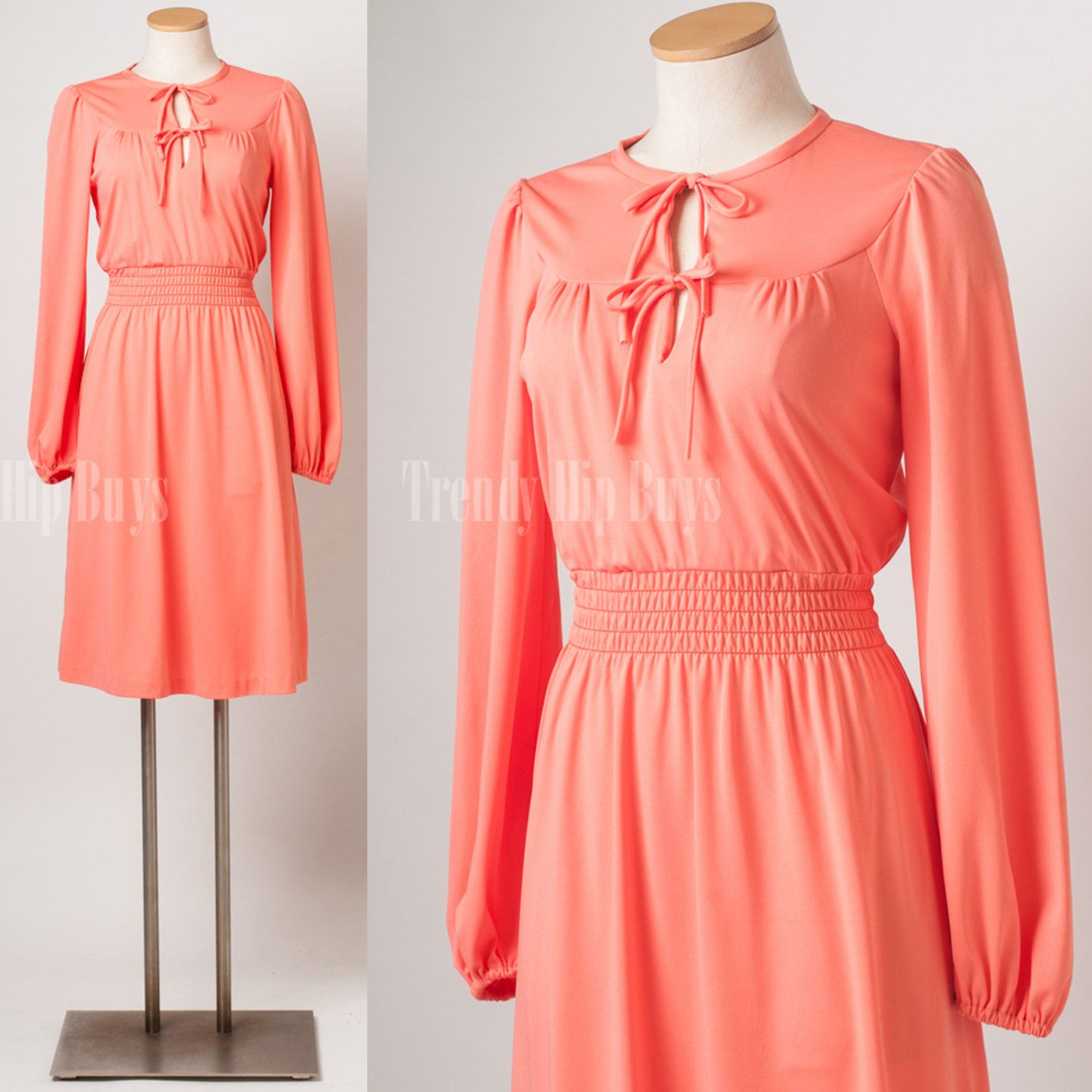 Vintage dress, 60s dress, Vintage Coral Dress, Mad Men dress ...