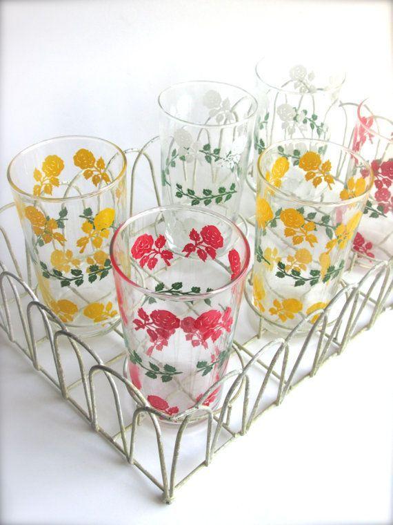1950s Floral Drinking Glasses Vintage glasses by LemonRoseStudio, $75.00