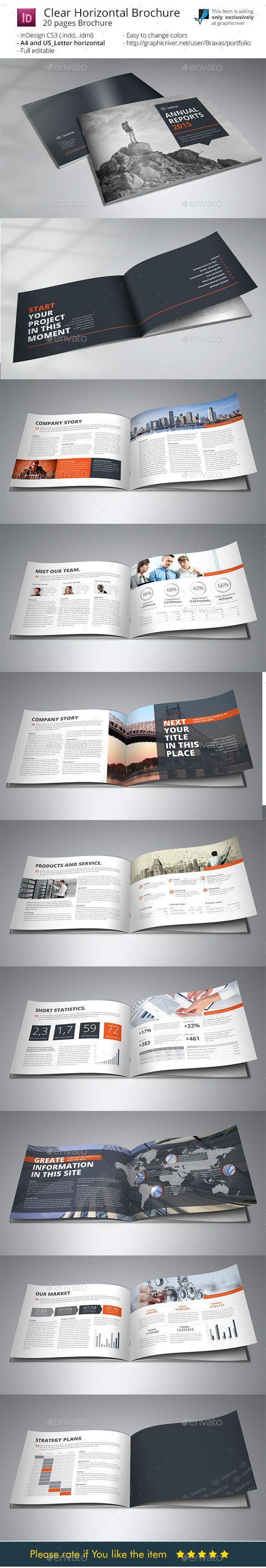 Clean Horizontal Brochure Indesigne Template Brochure Template - Horizontal brochure template