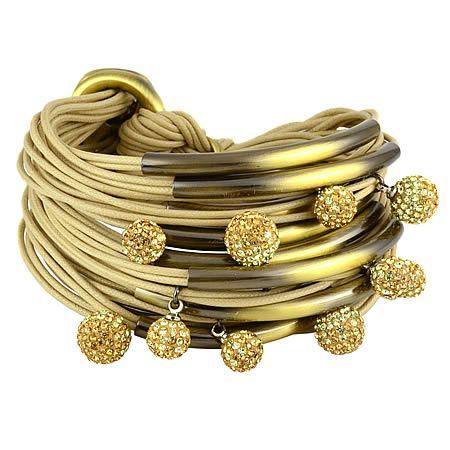 Gillian Julius Multi Tube Bracelet, Brass & Two-Tone Diamond Balls   Sand Cord. Multi strand bracelet consisting of 20 waxed cotton cords. Each cord of bracelet features a brass tube with two-tone cubic zirconia accents. $365