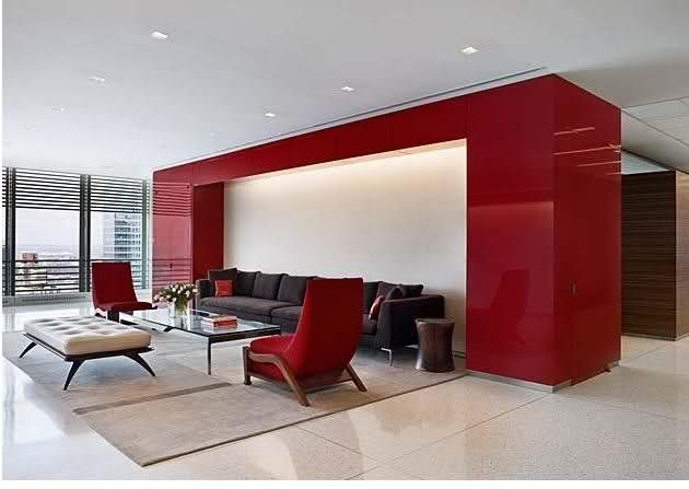 Simple Modern Office Colors Feature Red Accent Wall On Design Ideas