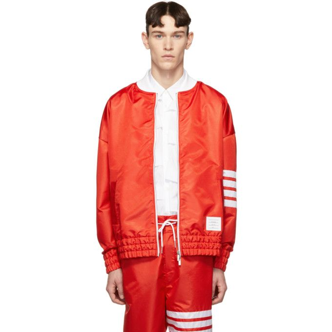 caaee3c04a0 THOM BROWNE THOM BROWNE RED RIPSTOP OVERSIZED 4-BAR SAILBOAT BOMBER JACKET.   thombrowne  cloth