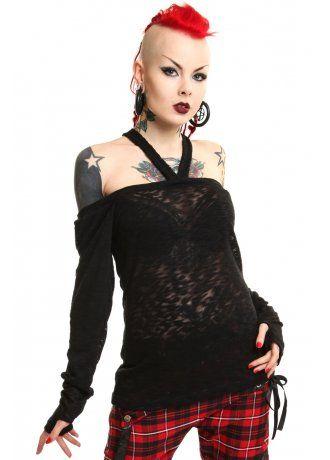 Vixxsin Karu Shirt Ladies Black Goth Emo Punk