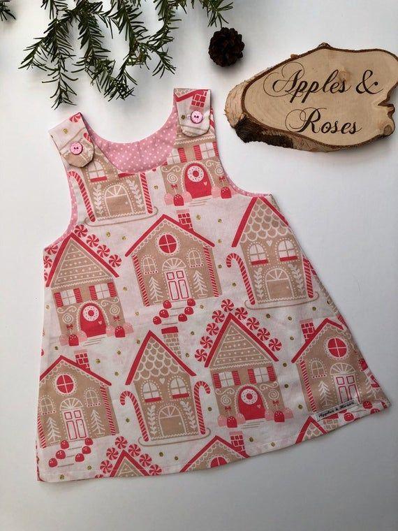 Beautiful handmade baby girl Christmas dress - girl party dress, baby first Christmas outfit, girl Christmas outfit, toddler Christmas dress