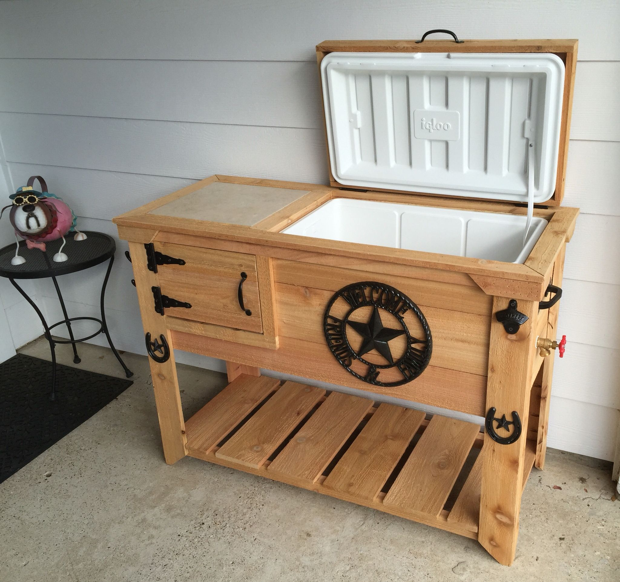 Wooden deck cooler plans trap door for extra storage under for Wooden beer cooler plans