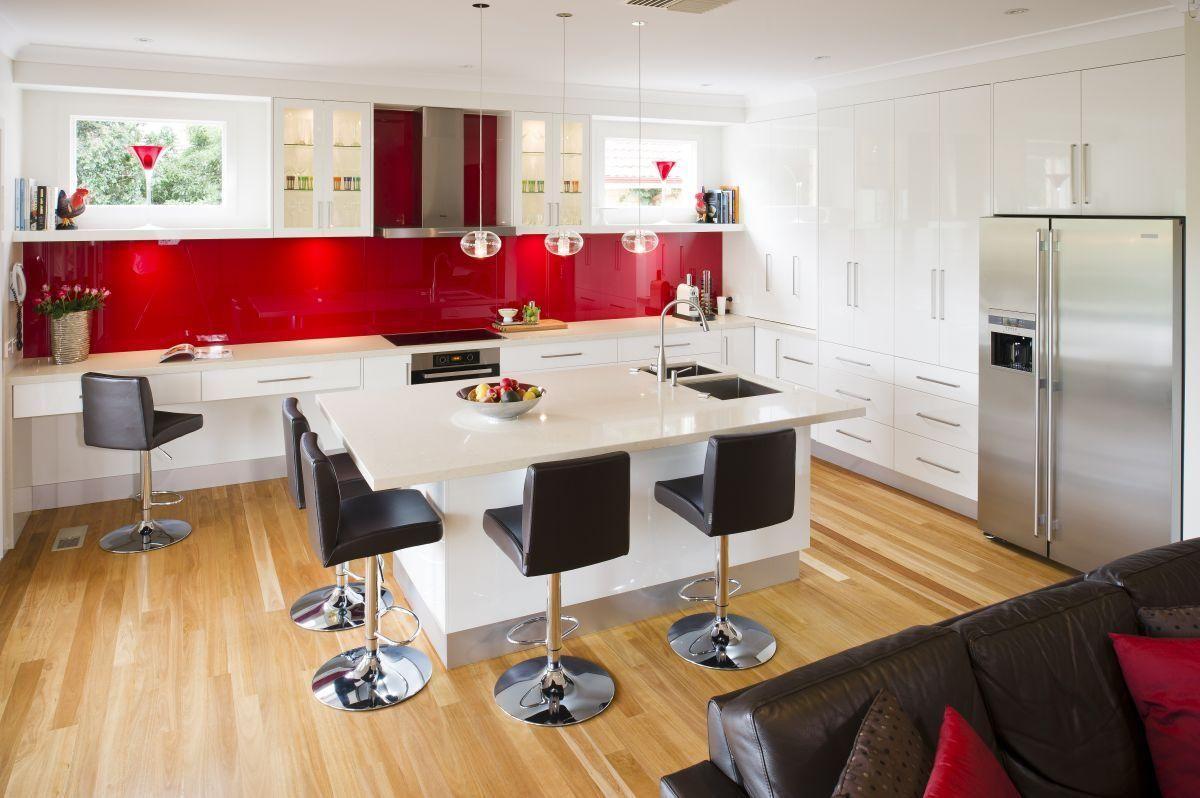 Amusing red kitchen backsplash design with black seat top red
