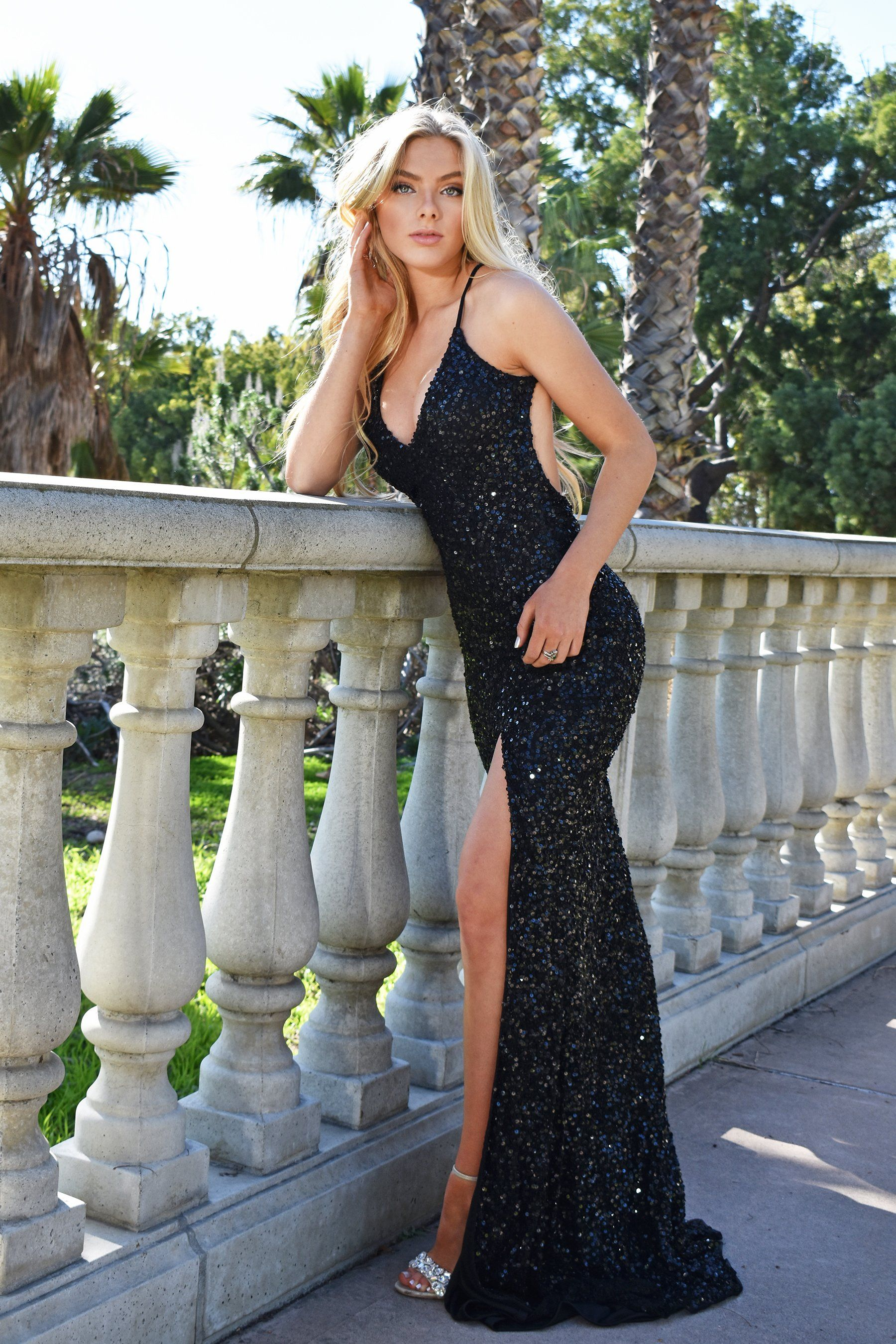 Isabella Gown black sequin dress with a low back - Mia Bella