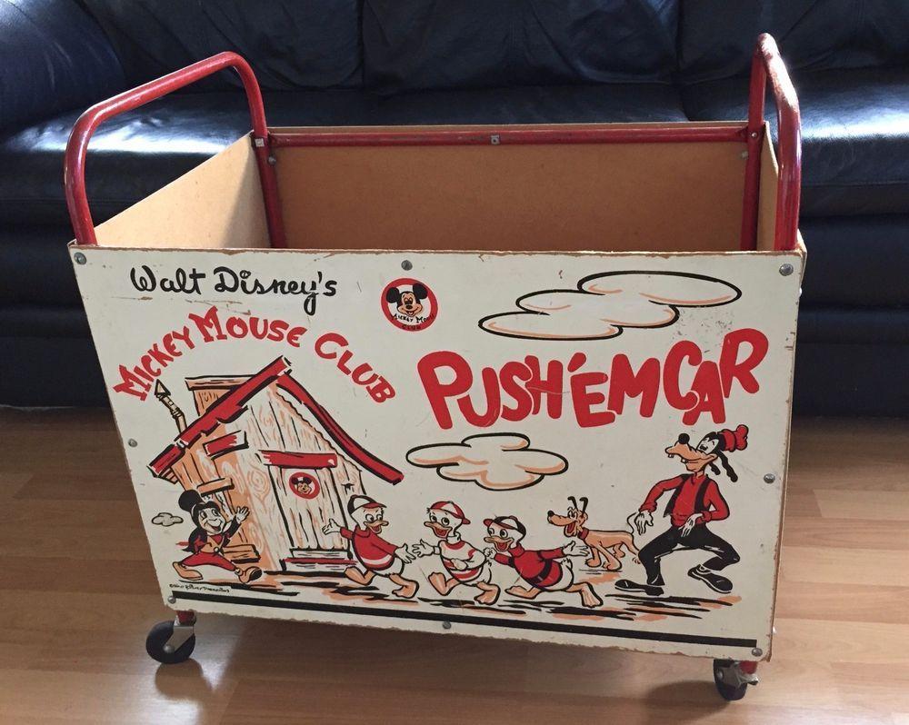 Vintage 1950 S Walt Disney Productions Mickey Mouse Club Push Em Cart Www Cutevintagetoys Com Hundreds Of Vintage Toy Mickey Mouse Club Disney Toys Mickey