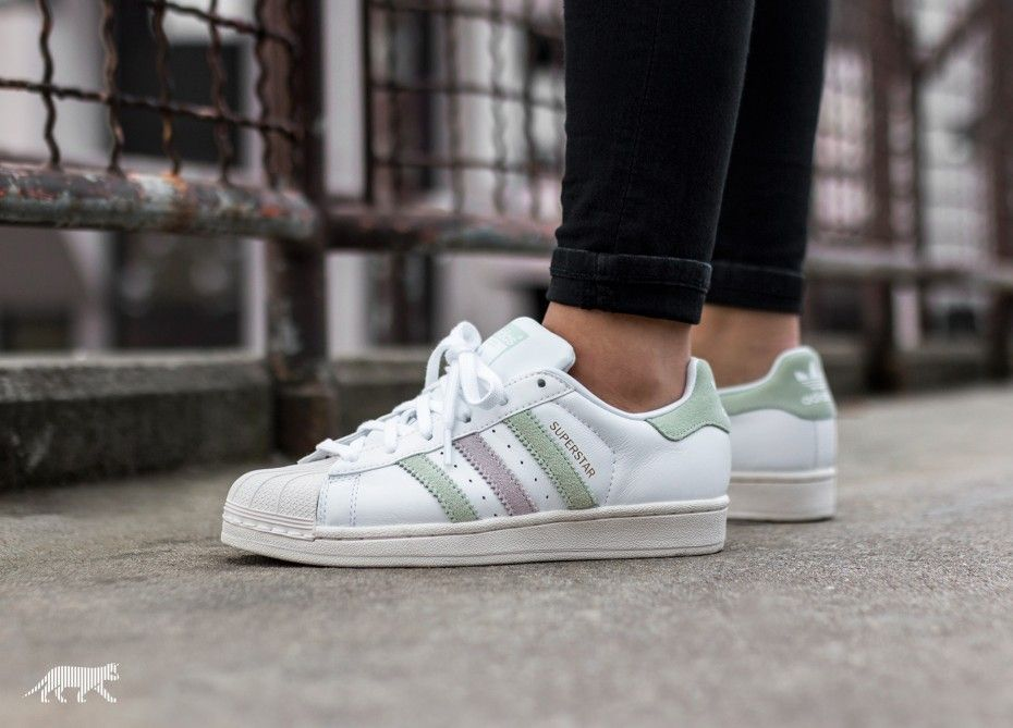adidas Superstar W (Ftwr White / Linen Green / Ice Purple)