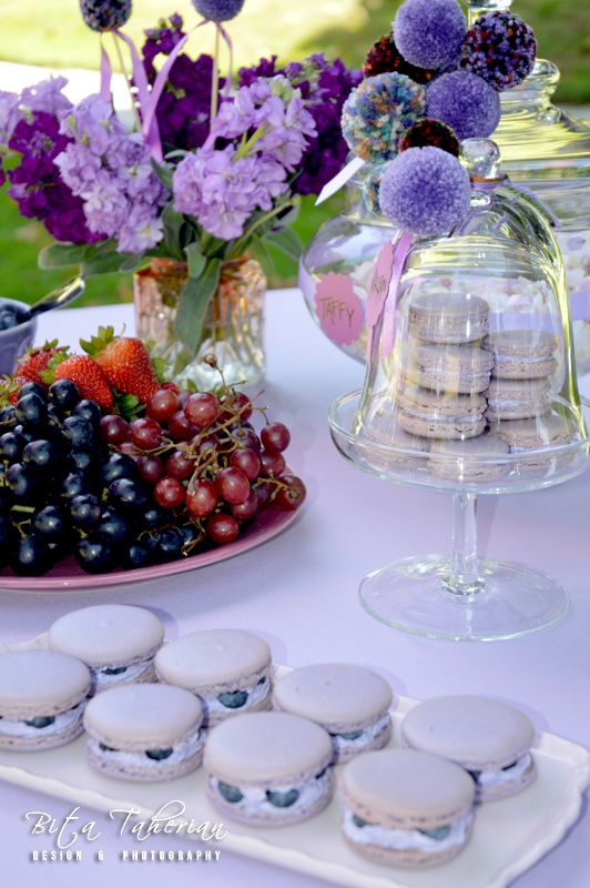 Organic Blueberry Macarons Table Setting Styling Decorations