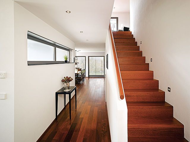 Red floors, white walls and black windows