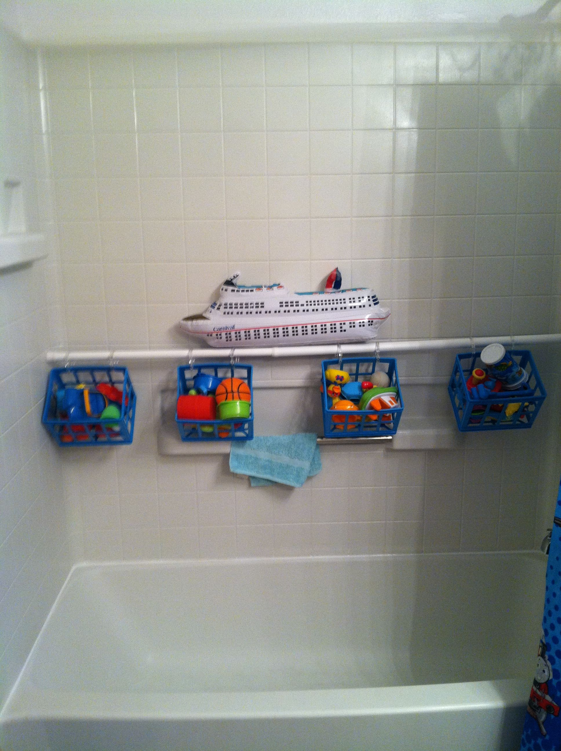 Dollar Store Baskets Shower Curtain Rod And Rings Out Of The Way Bath Toy Storage
