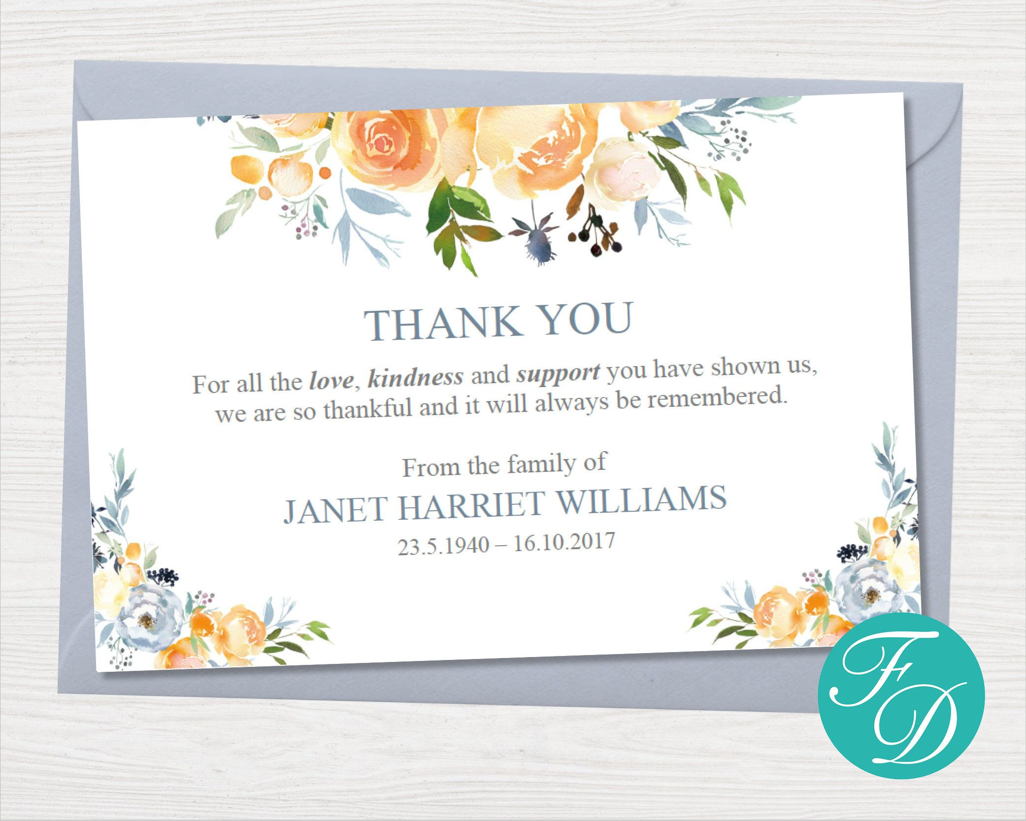 Yellow Rose Funeral Thank You Notes Funeral Template Printable