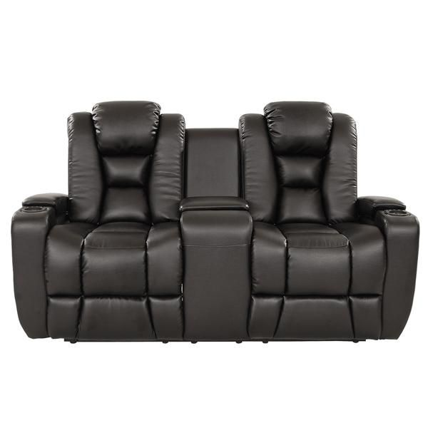 Transformer Black W Console Sofa Leather Reclining Sofa Home