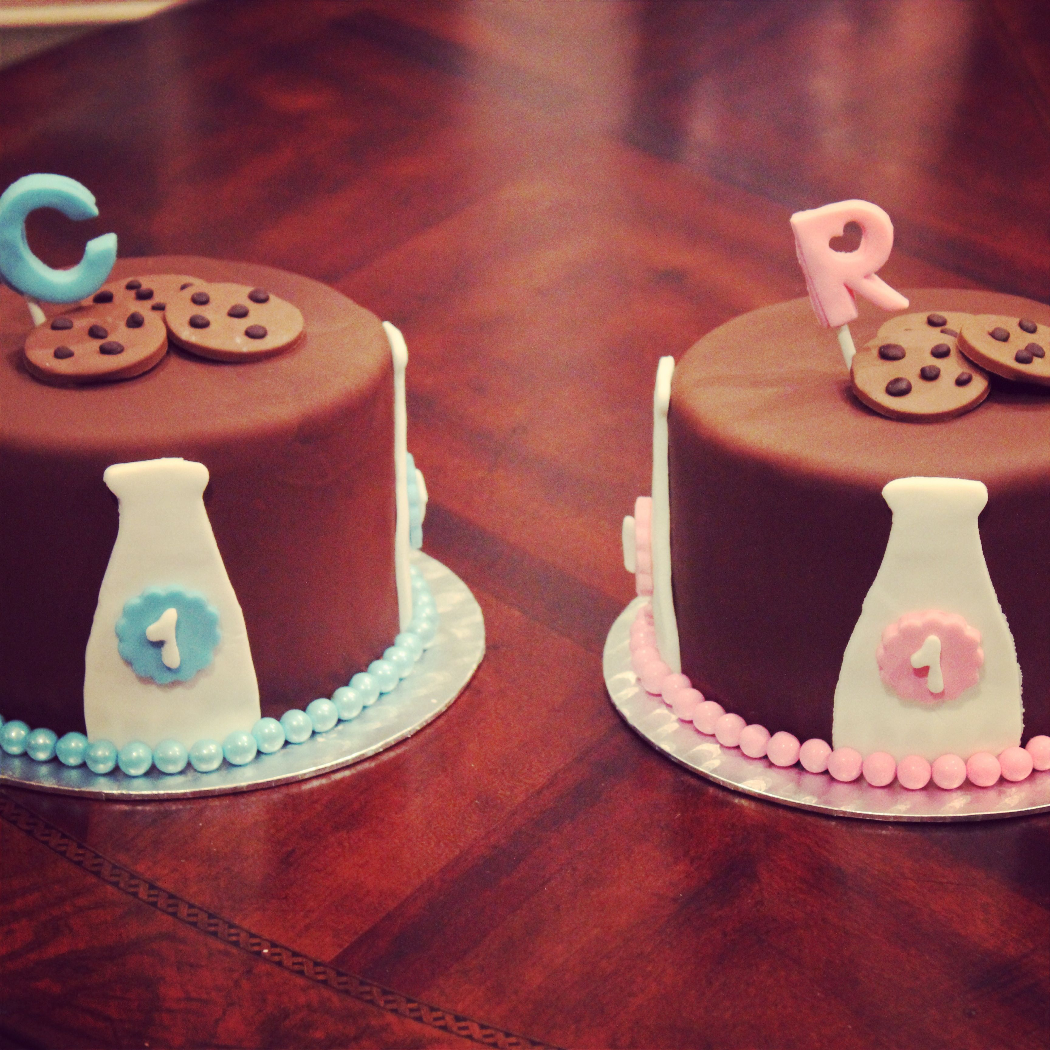 Milk And Cookies Cake First Birthday Twins Boy And Girl