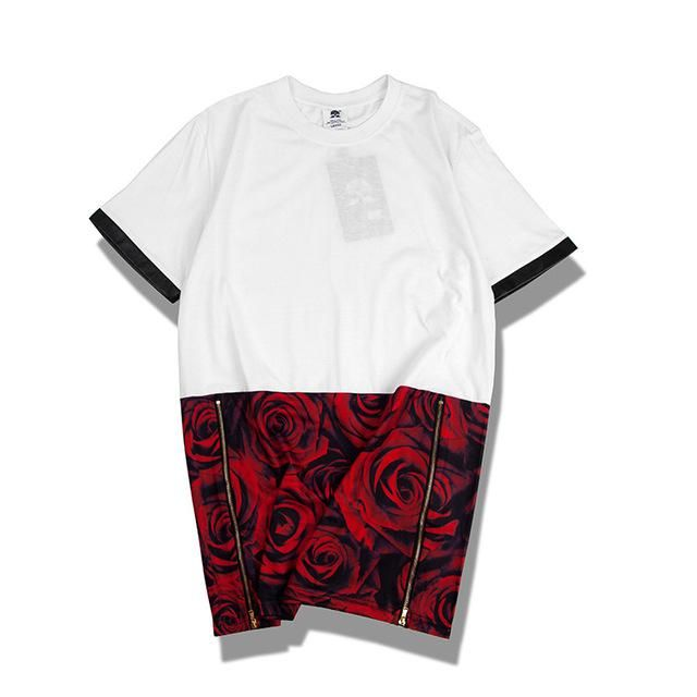 e98681fd 2018 New Premium Streetwear Spring Summer Hip Hop unisex Rose Graphic Extra  Long T shirt Tyga ...