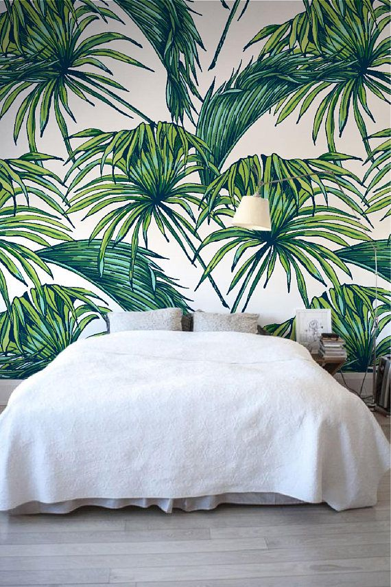 Palm leaves peel/&stick or non-woven wallpaper mural Tropical palm leaves  nature photowallpaper wall decor vlies reusable photomural W#390