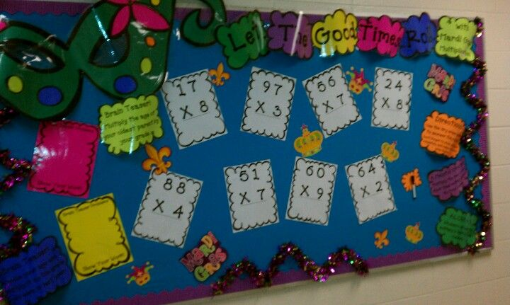 Let the good times roll with Mardi Gras multiplication! bulletin board interactive