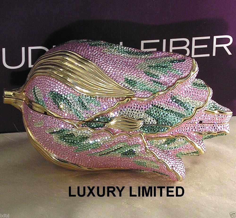 MINT JUDITH LEIBER CRYSTAL PINK TULIP MINAUDIERE HANDBAG & ACCESSORIES GORGEOUS!