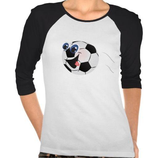 Caroon Soccer ball womens t-shirt