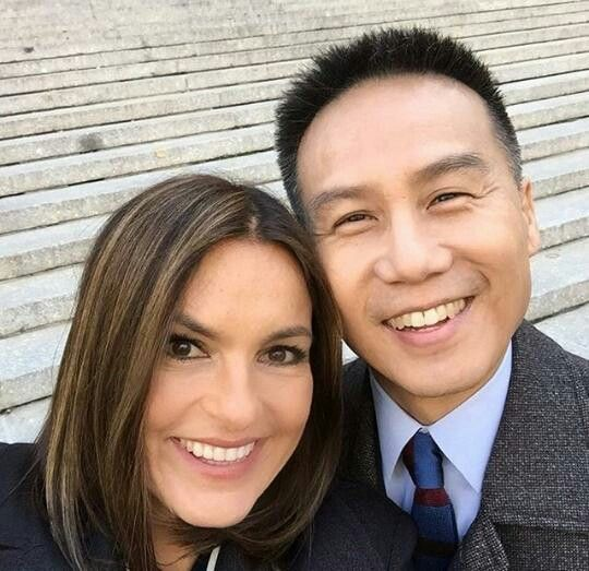The beautiful Mariska Hargitay with the adorable BD Wong so cute