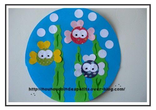 - bientôt le 1 er avril , voici le modèle que nounou a réalisé pour montrer aux petits... - nounou a découpé un gros rond sur feuille bleu, quelques herbes dans du papier vert avec un ciseau cranteur et les poissons avec des ronds découpés à la perfo...