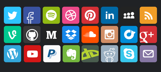Social media vector icons squared (PSD) - black background