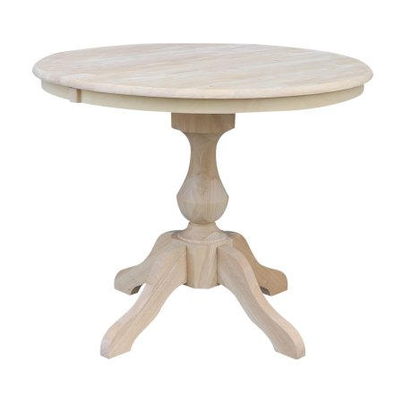 36 Inch Round Top Dining Table With 12 Inch Leaf Unfinished