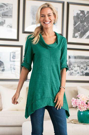 Everywhere Tunic - Cotton Jersey Tunic, Cowl Neck Tunic, Knit Tunic Top   Soft Surroundings
