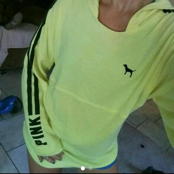 EUC, neon yellow tunic Excellent condition. HTF, neon yellow tunic size small. Only flaw is it's missing hoodie string PINK Victoria's Secret Sweaters