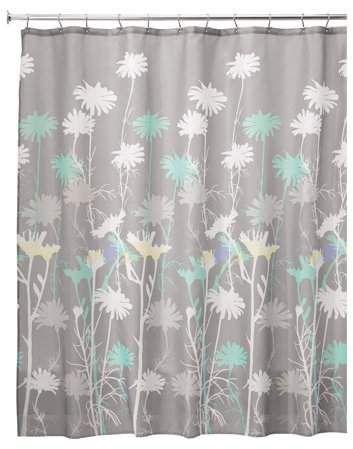 Interdesign Daizy Shower Curtain Standard 72 X 72 Gray Mint