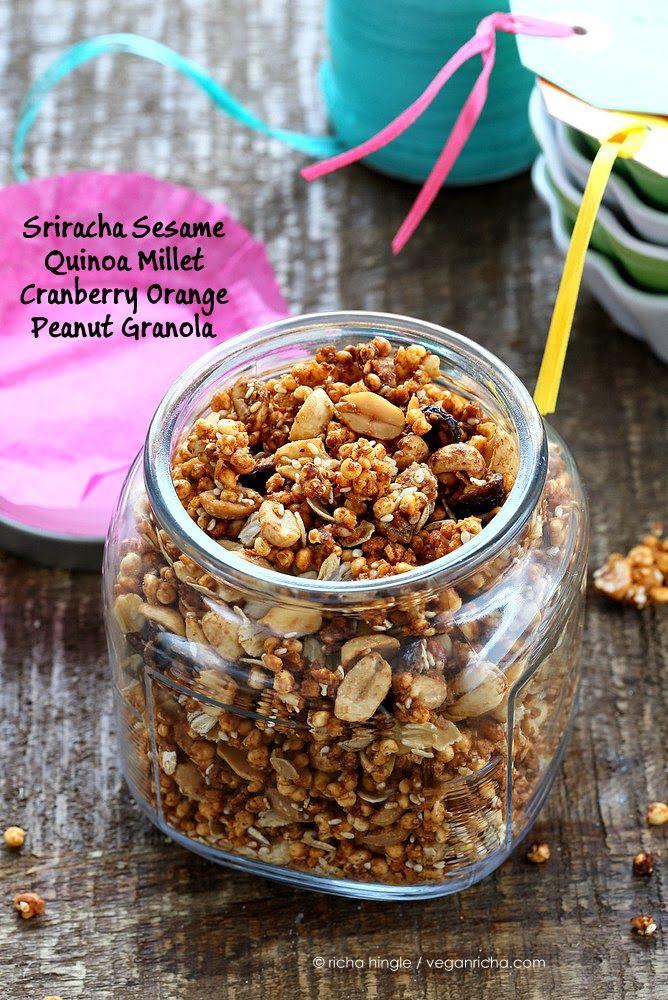 Sriracha Quinoa Millet Cranberry Orange Peanut Granola/Trail Mix. Glutenfree Spicy Granola
