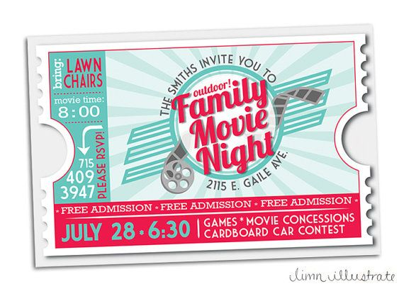 Retro Movie Ticket Family Movie Night Printable Invitation - Red - movie ticket invitations template