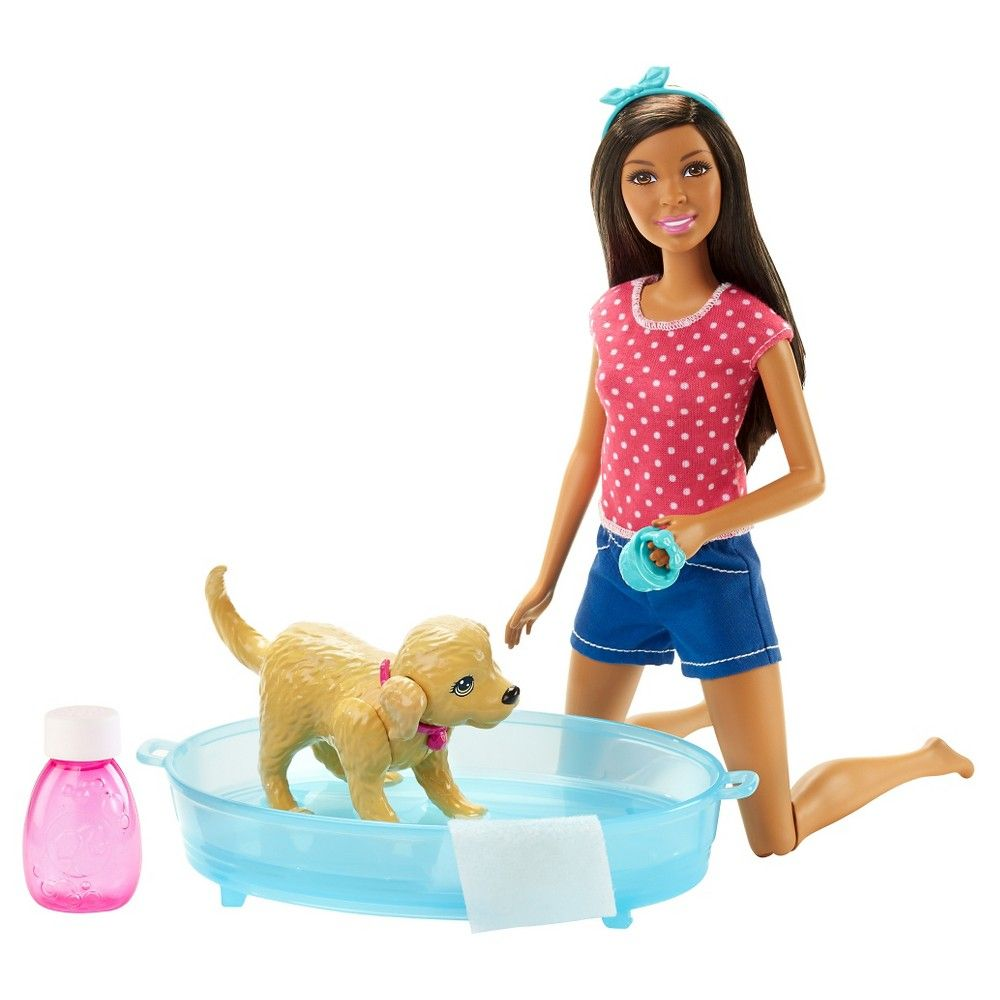 Barbie Splish Splash Pup African-American Doll Playset