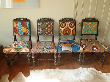 Set Of Four Tribal Print Covered Chairs Upholstered Dining ChairsDining Room