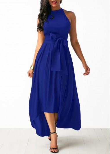 Hi-Low Asymmetrical Hem Maxi Sleeveless Dress V Neck Keyhole Back Casual Summer
