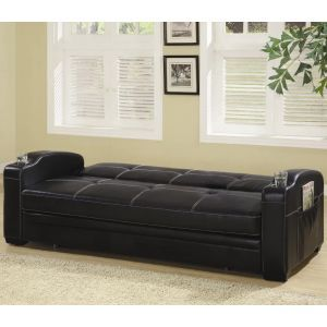 Faux Leather Sofa Bed Wstoragecup Holders By Coaster 300132 - Fina-leather-sofa-by-athomeusa