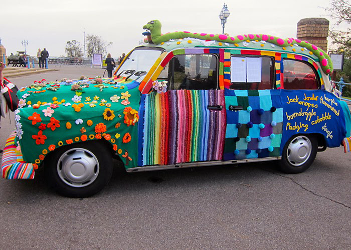 Yarn Bombed Taxi, Alexandra Palace and the Knitting and Stitching Show. https...