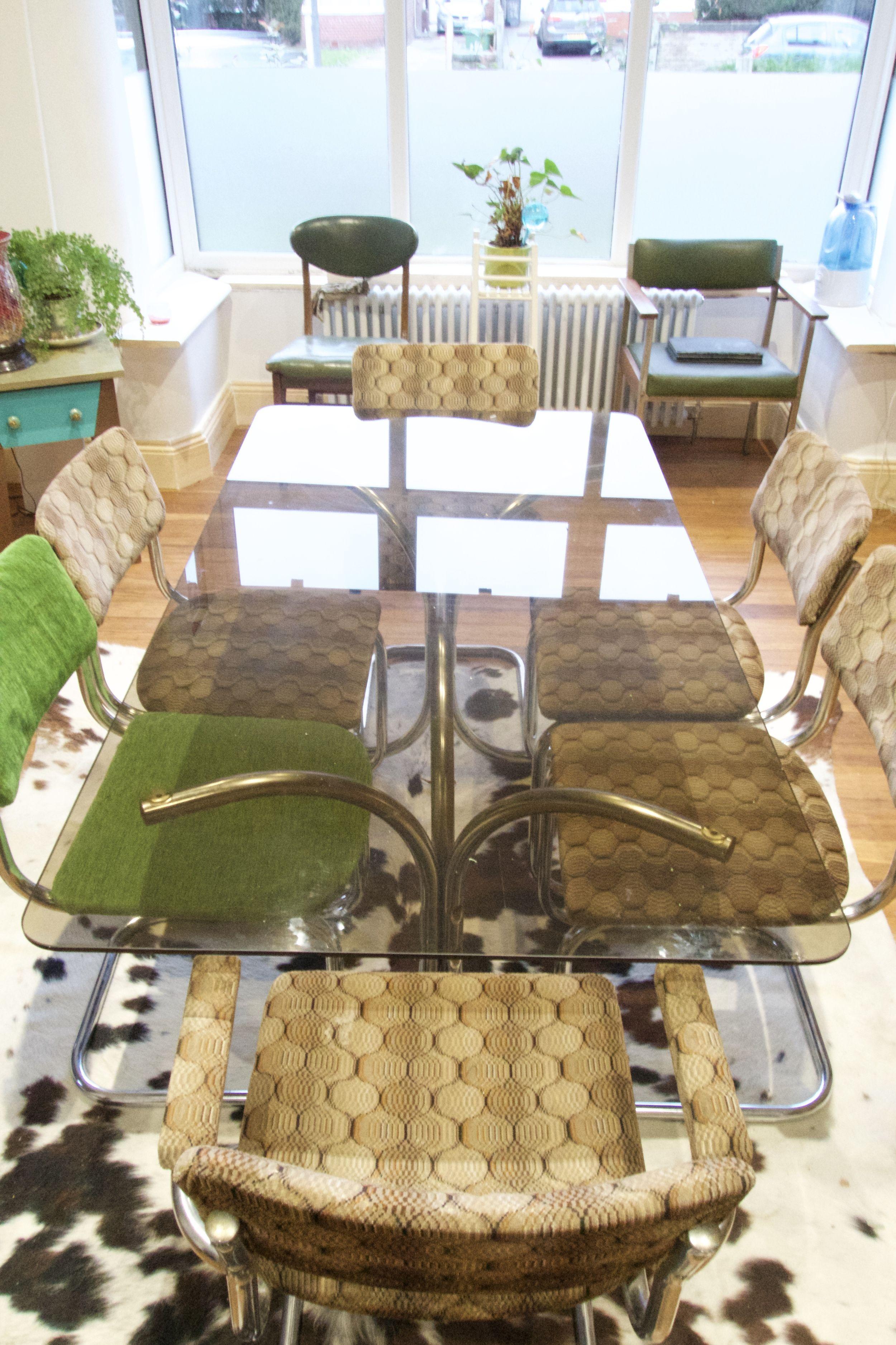 Vintage Retro Mid Century Italian Chrome Smoked Glass Dining Table