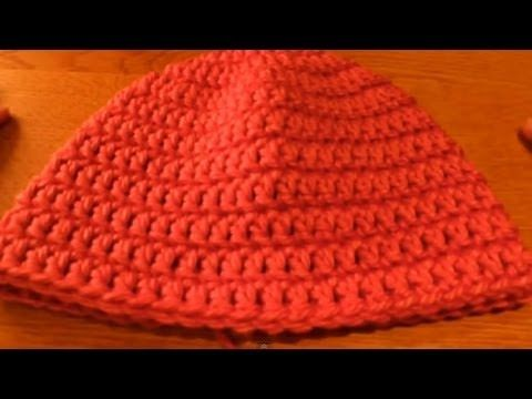 """▶ (Crochet) How to crochet a beanie (includes newborn beanie pattern) - Part 2/3 - HappyBerry - YouTube  This is a very clear step by step video using the 6,12,24,36,48 stictch count increase, chunky yarn with size 4 hook, tension 1"""" = 4 dc"""